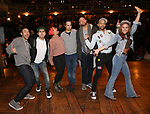 """Marc dela Cruz, Anthony Lee Medina, Sasha Hollinger, Greg Treco, Terrance Spencer, Elizabeth Judd with Lin-Manuel Miranda makes a surprise appearance during a Q & A before The Rockefeller Foundation and The Gilder Lehrman Institute of American History sponsored High School student #EduHam matinee performance of """"Hamilton"""" at the Richard Rodgers Theatre on 3/20/2019 in New York City."""