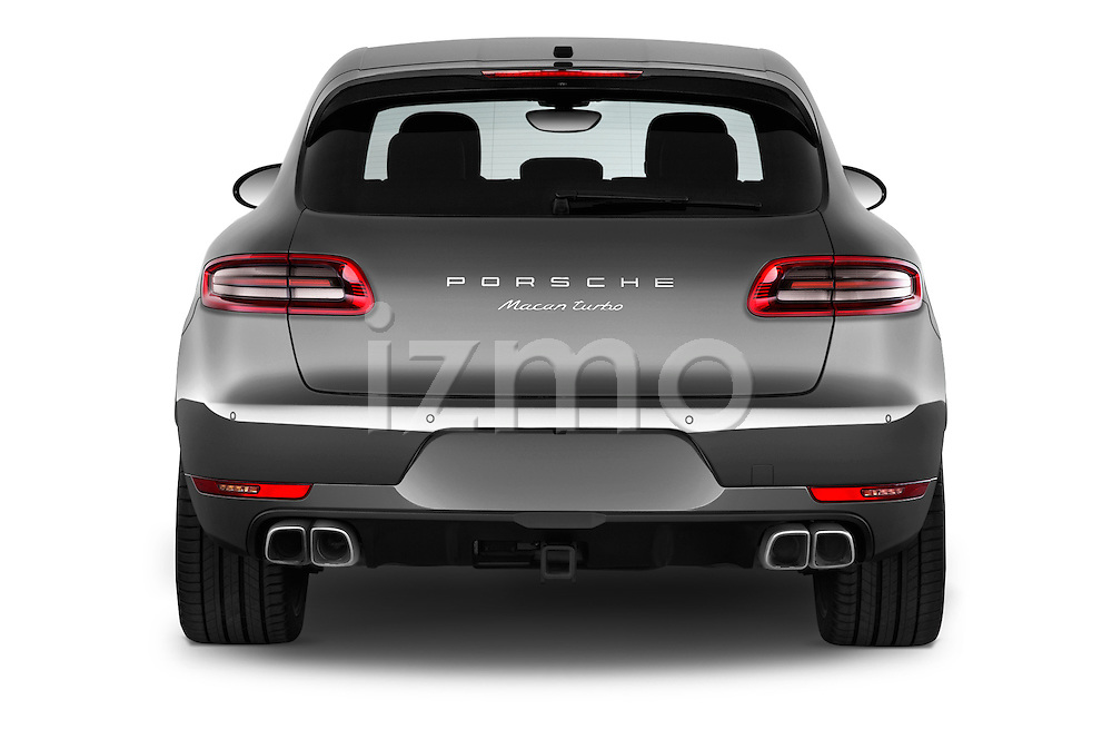 Straight rear view of a 2015 Porsche Macan Turbo 5 Door SUV stock images