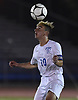 Savvas Christoforou #10 of Port Washington makes a header during his team's 1-0 win over Massapequa in the Nassau County varsity boys soccer Class AA final at Mitchel Athletic Complex in Uniondale on Wednesday, Oct. 31, 2018. He scored the lone goal early in the second half.