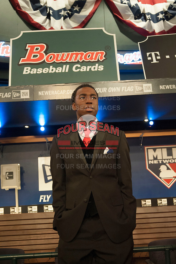 Infielder Nick Gordon (Olympia H.S. (FL)) the number 5 overall pick to the Minnesota Twins during the MLB Draft on Thursday June 05,2014 at Studio 42 in Secaucus, NJ.   (Tomasso DeRosa/ Four Seam Images)