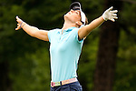 Danah Ford from Indianapolis, Ind rejoices after chipping the ball on the 11th hole for a birdie during the Alliance Bank Golf Classic in Syracuse, NY.
