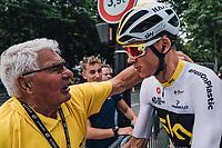 Picture by Russell Ellis/russellis.co.uk/SWpix.com - image archived on 25/04/2019 Cycling Tour de France 2018 - Team Sky at the Tour de France - STAGE 21: HOUILLES - PARIS Champs-Elysées 29/07/2018<br /> - Chris Froome with Raymond Poulidor