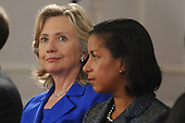 United States Secretary of State Hillary Clinton (L) and US Ambassador to the UN Susan Rice (R) attend a bilateral meeting between US President Barack Obama and Prime Minister of Japan Naoto Kan, in New York, New York, USA, Thursday, 23 September 2010.  The meeting between President Obama and Prime Minister Kan takes place on the sidelines of the 65th session of UN General Assembly (UNGA).     .Credit: Michael Reynolds - Pool via CNP