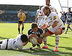 Chris Cuister of Sale Sharks collects the loose ball and goes over to score the second try - Aviva Premiership - Sale Sharks vs Wasps  - AJ Bell Stadium - Salford, Manchester - 5th October 2014  - Picture Simon Bellis/Sportimage