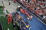 Podium - Daniel Ricciardo (AUS)  Red Bull Racing - Fernando Alonso (ESP),  Scuderia Ferrari - Lewis Hamilton (GBR), Mercedes GP<br /> for the complete Middle East, Austria & Germany Media usage only<br />  Foto © nph / Mathis