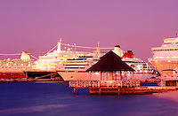 Bahamas,Nassau. Cruise ships in port at dusk