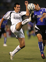 29 June 2005:    Mike Petke of Rapids battles for the ball against Alejandro Moreno of Earthquakes during the second half of the game at Spartan Stadium in San Jose, California.   Earthquakes defeated Rapids, 1-0.  Mandatory Credit: Michael Pimentel / ISI