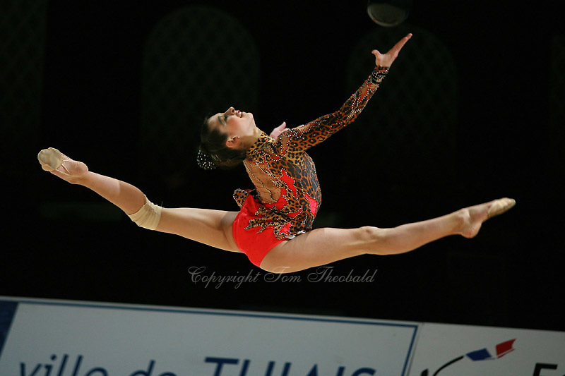 Anna Gurbanova competing for Azerbaijan split leaps with rope during All-Around competition at 2006 Thiais Grand Prix in Paris, France on March 25, 2006.  (Photo by Tom Theobald)<br />