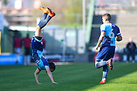 Randell Williams of Wycombe Wanderers celebrates his goal with a somersault  during Yeovil Town vs Wycombe Wanderers, Sky Bet EFL League 2 Football at Huish Park on 14th April 2018