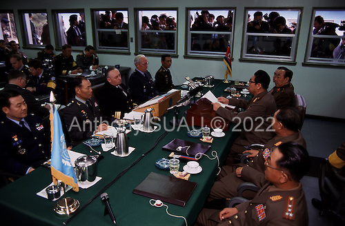 Korean DMZ<br /> 38th Parallel<br /> May 1986<br /> <br /> Meeting between North and South Korean officials in P'am Mun Jeon North Korean, South Korean DMZ.