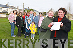 NO WAY: Locals in Casements Avenue in Tralee are objecting to plans to take away their green area to make way for new houses. From front l-r were: Marian Kerins and Mary Dowling. Back l-r were: Michelle Quirke with April Mahony, Maureen Moriarty, Peter Sugrue, Nuala Carey, Brigitte Dowling, Dianne O'Shea, Michael Doran, Aileen McElligott, Casey Mahony and Kelly Mahony..