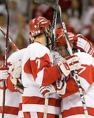 Max Nicastro (BU - 7) and Victor Saponari (BU - 17) celebrate Nicastro's goal which made it 4-0 BU.  It was Nicastro's first collegiate goal. - The Boston University Terriers defeated the Merrimack College Warriors 6-4 on Saturday, November 14, 2009, at Agganis Arena in Boston, Massachusetts.
