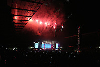 Pictured: A firework display at the end of the Manic Street Preachers concert Saturday May 2016<br /> Re: Manic Street Preachers at the Liberty Stadium, Swansea, Wales, UK