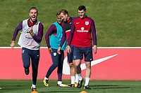 Jordan Henderson during the part open training session of the  England national football squad at St George's Park, Burton-Upon-Trent, England on 31 August 2017. Photo by James Williamson.