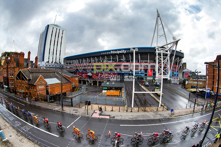 Picture by Alex Whitehead/SWpix.com - 10/09/2017 - Cycling - OVO Energy Tour of Britain - Stage 8, Worcester to Cardiff - The peloton ride past the Principality Stadium near the stage finish in Cardiff.