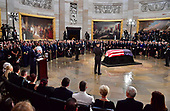Speaker of the House Paul Ryan, R-WI, delivers remarks at the memorial service for Sen. John McCain, R-Ariz., in the Capitol Rotunda where he will lie in state at the U.S. Capitol, in Washington, DC on Friday, August 31, 2018. McCain, an Arizona Republican, presidential candidate, and war hero, died August 25th at the age of 81. He is the 31st person to lie in state at the Capitol in 166 years. Photo Ken Cedeno/UPI