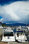 Two Boats at Coal Harbour, Vancouver, B.C, Canada in early summer. Buildings and a mountain are in the background.  Dramatic clouds over the mountain.