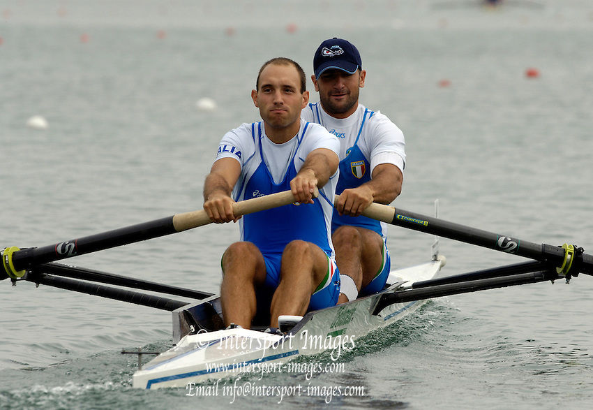 2005 FISA Rowing World Cup Munich, GERMANY. 17.06.2005;.ITA M2- Bow Luca Agamennoni and Dario Lari, move away from the start, in their morning heat, on the opening day of the regatta. Photo Peter Spurrier.email images@intersport-images...[Mandatory Credit Peter Spurrier/ Intersport Images] Rowing Course, Olympic Regatta Rowing Course, Munich, GERMANY