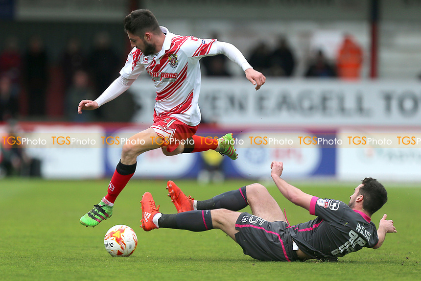 Tom Pett of Stevenage and Aaron Wildig of Morecambe during Stevenage vs Morecambe, Sky Bet EFL League 2 Football at the Lamex Stadium on 14th April 2017