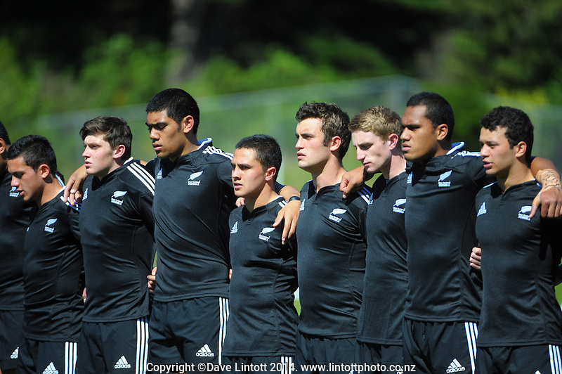 The NZ team lines up for the national anthems during the rugby union match between NZ Schools and Fiji Schools at Porirua Park, Porirua, Wellington, New Zealand on Tuesday, 30 September 2014. Photo: Dave Lintott / lintottphoto.co.nz
