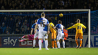 Matty Taylor of Bristol Rovers  first goal flys past Goalkeeper Matt Ingram of Wycombe Wanderers during the Sky Bet League 2 rearranged match between Bristol Rovers and Wycombe Wanderers at the Memorial Stadium, Bristol, England on 1 December 2015. Photo by Andy Rowland.