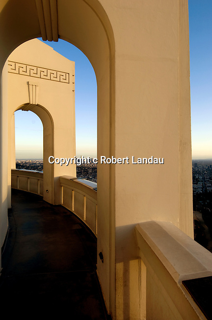 Art Deco arched walkway around the Griffith Park Observatory