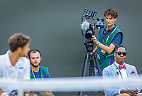 London, England, 5 th. July, 2018, Tennis,  Wimbledon, Men's singles, Jan-Willem de Lange at work in the foreground Robin Haase (NED)<br /> Photo: Henk Koster/tennisimages.com