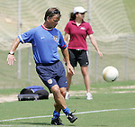 28 July 2006: Head coach Greg Ryan participates in a team training exercise. The United States Women's National Team trained at SAS Soccer Park in Cary, North Carolina, in preparation for an International Friendly match against Canada to be played on Sunday, July 30.