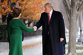 Former first lady Laura Bush and former President George W. Bush greet President Donald Trump outside of Blair House December 04, 2018 in Washington, DC. The Trumps were paying a condolence visit to the Bush family who are in Washington for former President George H.W. Bushs state funeral and related honors. <br /> Credit: Chip Somodevilla / Pool via CNP