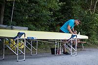 Lucerne, SWITZERLAND, 12th July 2018, Thursday Swiss Coach, Bill LUCAS, cleaning an Empacher, Double Scull,  FISA World Cup III, Lake Rotsee, © Peter SPURRIER,
