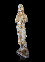 Roman statue of Priestess of Isis,  2nd century AD from Hierapolis. Hierapolis Archaeology Museum, Turkey . Against an black background