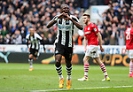 Chancel Mbemba of Newcastle United celebrates scoring his teams second goal of the game during the EFL Championship match at St James' Park Stadium, Newcastle upon Tyne. Picture date: May 7th, 2017. Pic credit should read: Jamie Tyerman/Sportimage