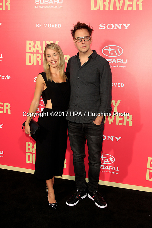 "LOS ANGELES - JUN 14:  Jennifer Holland, James Gunn at the ""Baby Driver"" Premiere at the The Theater at Ace Hotel on June 14, 2017 in Los Angeles, CA"