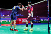 17th March 2018, Arena Birmingham, Birmingham, England; Yonex All England Open Badminton Championships; Shi Yuqi (CHN) shakes hands with Son Wan Ho (KOR) after beating him in the semi-final