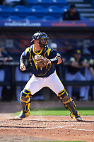 Michigan Wolverines catcher Harrison Wenson (7) checks the runner during the second game of a doubleheader against the Canisius College Golden Griffins on February 20, 2016 at Tradition Field in St. Lucie, Florida.  Michigan defeated Canisius 3-0.  (Mike Janes/Four Seam Images)