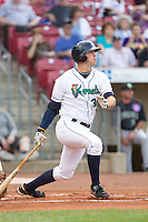 Cedar Rapids Kernels first baseman D.J. Hicks #36 bats during a game against the Kane County Cougars at Veterans Memorial Stadium on June 8, 2013 in Cedar Rapids, Iowa. (Brace Hemmelgarn/Four Seam Images)
