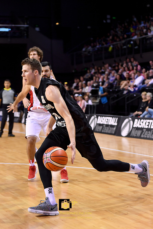 New Zealand Tall Blacks&rsquo; Tom Abercromble in action during the FIBA World Cup Basketball Qualifier - NZ Tall Blacks v Syria at TSB Bank Arena, Wellington, New Zealand on Sunday 2 2018. <br /> Photo by Masanori Udagawa. <br /> www.photowellington.photoshelter.com