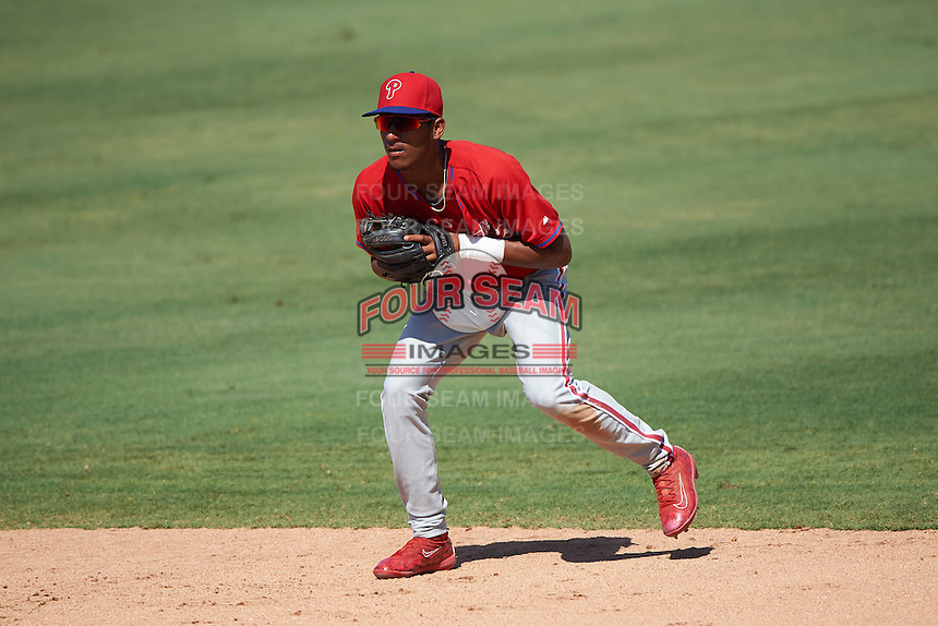 Philadelphia Phillies Daniel Brito (21) during an Instructional League game against the New York Yankees on September 27, 2016 at Bright House Field in Clearwater, Florida.  (Mike Janes/Four Seam Images)