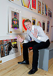 JAMIE WOOD, SON OF JO WOOD AND STEPSON OF RONNIE.  JAMIE IS A GALLERY OWNER AND ART DEALER.<br /> PICTURED IN &quot;SCREAM EDITIONS&quot;, A POP-UP GALLERY SPACE OFF CARNABY STREET, WHERE HE WILL BE SELLING ART PRINTS.<br /> 12-3-2014 PIC BY IAN MCILGORM