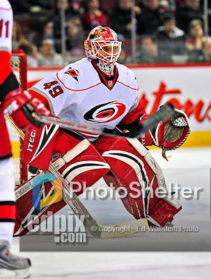 21 December 2008: Carolina Hurricanes' goaltender Michael Leighton warms up prior to a game against the Montreal Canadiens at the Bell Centre in Montreal, Quebec, Canada. The Hurricanes defeated the Canadiens 3-2 in overtime. ***** Editorial Sales Only ***** Mandatory Photo Credit: Ed Wolfstein Photo