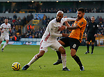 David McGoldrick of Sheffield Utd and Ruben Neves of Wolves during the Premier League match at Molineux, Wolverhampton. Picture date: 1st December 2019. Picture credit should read: Simon Bellis/Sportimage