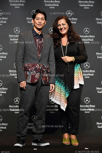 Yuta Hiraoka and Angela Missoni, Oct 14, 2013 : Yuta Hiraoka wearing Yoshio Kubo and designer Angela Missoni attend Mercedes-Benz Fashion Week Tokyo 2014 S/S Openig Ceremony at Shibuya Hikarie Tokyo Japan on 14 Oct 2013