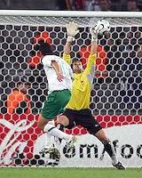 Angola goalkeeper Joao Ricardo (1) tips the shot of Guillermo Franco (10) of Mexico over the bar. Mexico and Angola played to a 0-0 tie in their FIFA World Cup Group D match at FIFA World Cup Stadium, Hanover, Germany, June 16, 2006.