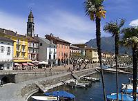 CHE, Schweiz, Tessin, Ascona: Hafen und Promenade am Lago Maggiore | CHE, Switzerland, Ticino, Ascona: harbour and promenade at Lago Maggiore