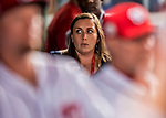 6 October 2017: Washington Nationals Senior Director of Communications Amanda Comak walks the dugout prior to the NLDS Game 1 against the Chicago Cubs at Nationals Park in Washington, DC. The Cubs shut out the Nationals 3-0 to take a 1-0 lead in their best of five Postseason series. Mandatory Credit: Ed Wolfstein Photo *** RAW (NEF) Image File Available ***