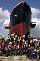 Hats off to a job well done as the workers on the Jeanie Johnston celebrate the launch of the Jeanie Johnston Replica Famine ship pictured at Blennerville, Co. Kerry, Ireland..© Picture by Don MacMonagle .Tel: 00+353+64+32833.6 PORT ROAD, KILLARNEY, CO. KERRY IRELAND