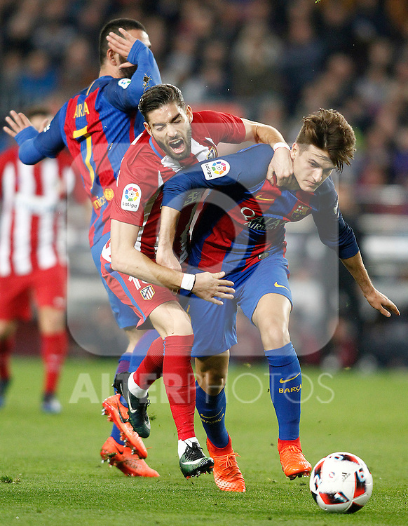 FC Barcelona's Arda Turan (l) and Denis Suarez (r) and Atletico de Madrid's Yannick Ferreira Carrasco during Spanish Kings Cup semifinal 2nd leg match. February 07,2017. (ALTERPHOTOS/Acero)