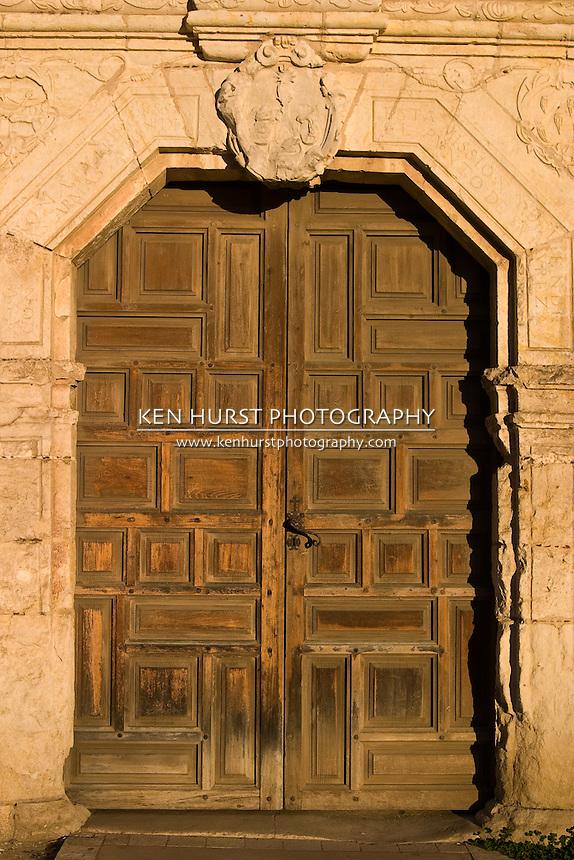 Rustic Wooden Entrance Door At Mission Concepcion, Or Mission Nuestra  Senora De La Purisima Concepcion