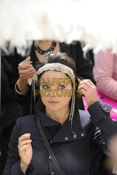 The National Wedding Show, Olympia, London, England..23rd February 2013 .half length black jacket headband silver.CAP/IA.©Ian Allis/Capital Pictures.