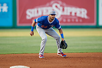 Oklahoma City Dodgers third baseman Edwin Rios (24) during a Pacific Coast League game against the New Orleans Baby Cakes on May 6, 2019 at Shrine on Airline in New Orleans, Louisiana.  New Orleans defeated Oklahoma City 4-0.  (Mike Janes/Four Seam Images)